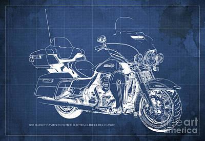 Police Cars Digital Art - 2015 Harley Davidson Flhtcu Electra Glide Ultra Classic Blueprint Blue Background by Pablo Franchi