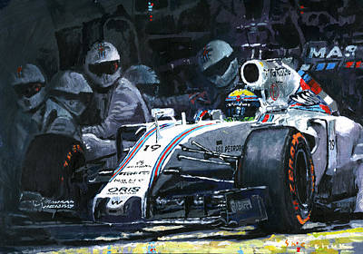 Barcelona Painting - 2015 Williams Fw37 F1 Pit Stop Spain Gp Massa  by Yuriy Shevchuk