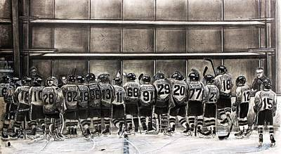 Youth Hockey Drawing - 2015_2016 Dvhl Champions Hatfield Ice Dogs Bantam A  34 12 3 by Gary Reising