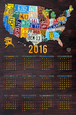 Calendars Mixed Media - 2016 Calendar License Plate Map Of The Usa Recycled Wall Art by Design Turnpike