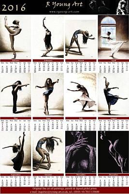 Calendars Mixed Media - 2016 High Resolution R Young Art Dance Calendar by Richard Young
