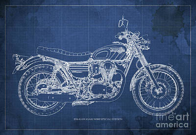 Motorcycle Drawing - 2016 Kawasaki W800 Speciaol Edition Blueprint Blue Background by Pablo Franchi