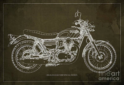 Motorcycle Mixed Media - 2016 Kawasaki W800 Speciaol Edition Blueprint Brown Background by Pablo Franchi