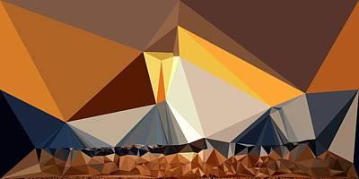 Abstract Art Landscape Of Triangles Print by Elena Kosvincheva