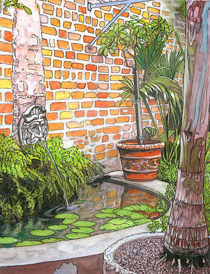 Mardi Drawing - 21   French Quarter Courtyard With Reflection Pool by John Boles