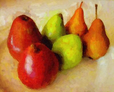 Fruit Digital Art - Pears Art by Michael Vicin
