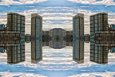 Outer Space Mixed Media - 22nd Century Floating Cities Cluster Hub by Thomas Woolworth