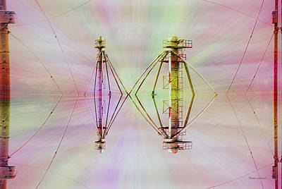 Outer Space Mixed Media - 22nd Century Floating Cities Power Distrubution Towers by Thomas Woolworth