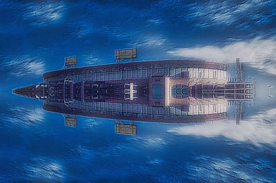Outer Space Mixed Media - 22nd Century Floating Cities Sports Stadium by Thomas Woolworth