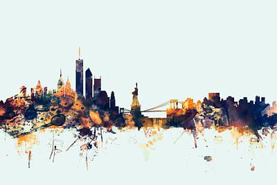 Silhouette Digital Art - New York Skyline by Michael Tompsett