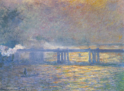 Train Painting - Charing Cross Bridge by Claude Monet