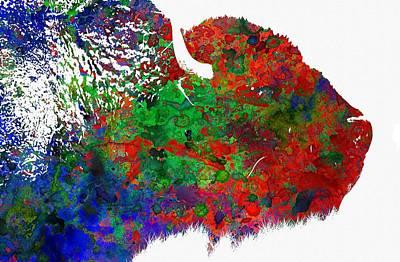Buffalo Digital Art - Bison - Colorful Animal by Michael Vicin
