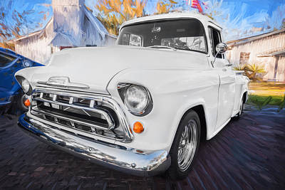 Old Trucks Photograph - 1957 Chevy Pick Up Truck 3100 Series Painted  by Rich Franco