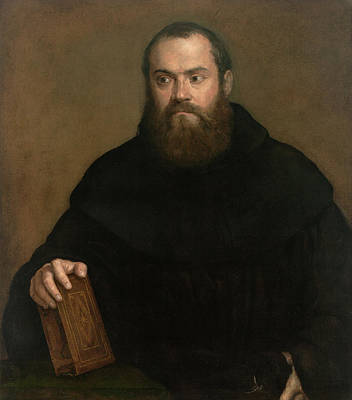 Book Painting - A Monk With A Book by Titian
