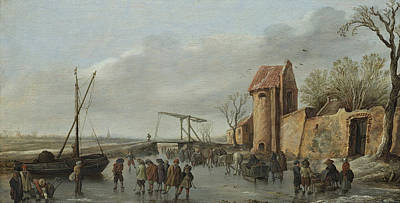 Architecture Painting - A Scene On The Ice by Jan van Goyen
