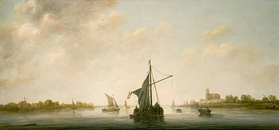 Riverside Painting - A View Of The Maas At Dordrecht by Aelbert Cuyp