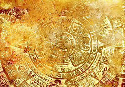 Ancient Mayan Calendar, Abstract Color Background. Print by Jozef Klopacka