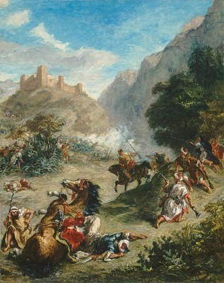Conflict Painting - Arabs Skirmishing In The Mountains by Eugene Delacroix