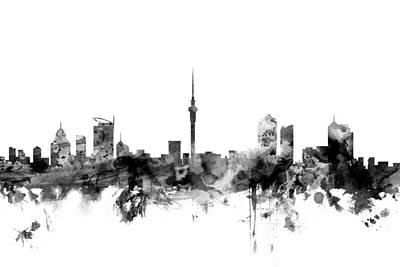 Auckland New Zealand Skyline Print by Michael Tompsett