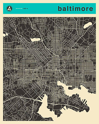 Baltimore Map 1 Print by Jazzberry Blue