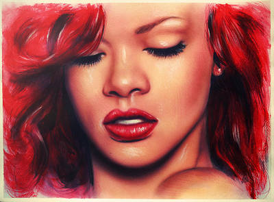 Rihanna Painting - beautiful airbrush portrait of Rihanna with red hair and a face close up by Jozef Klopacka