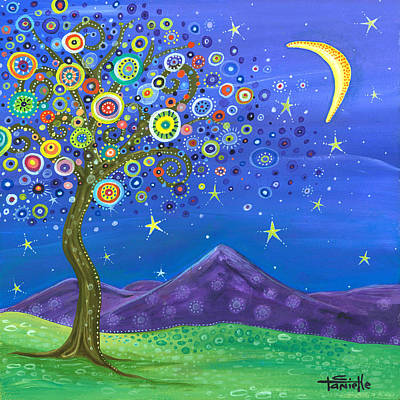 Moonlit Night Painting - Believe In Your Dreams by Tanielle Childers
