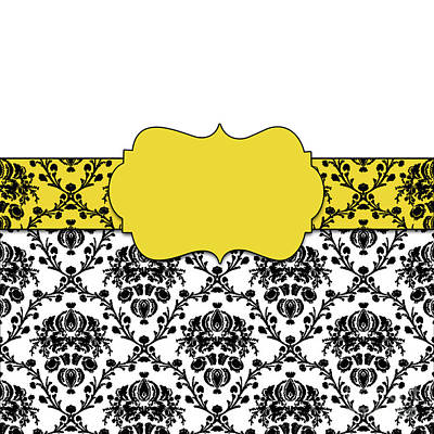 Black And Canary Yellow Damask Print by Anne Kitzman