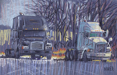 Truck Drawing - Black And White by Donald Maier