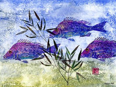 3 Blue Fish Print by Brenda Alcorn