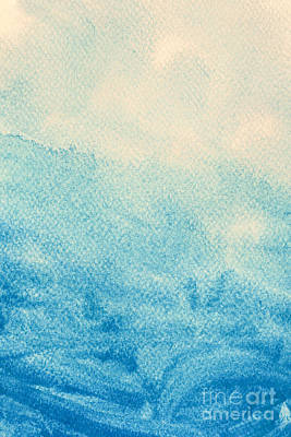 Ink Photograph - Blue Watercolor Paint On Canvas. Abstract Art Background.  by Michal Bednarek
