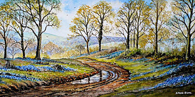 Mud Season Painting - Bluebells In The New Forest by Andrew Read