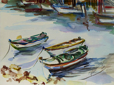 Docking Painting - 3 Boats I by Xueling Zou