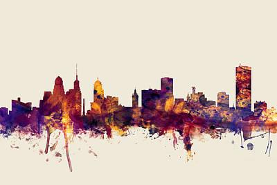 New York Digital Art - Buffalo New York Skyline by Michael Tompsett