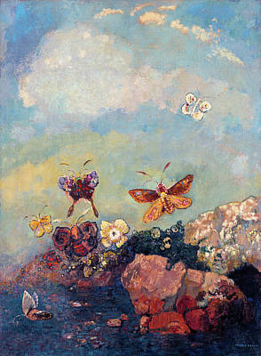 Animal Symbolism Painting - Butterflies by Odilon Redon