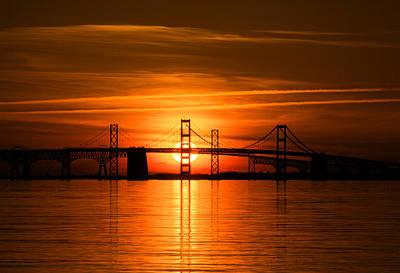 Chesapeake Bay Bridge Sunset Print by Mark  Dignen