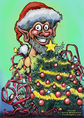 Elf Digital Art - Christmas Elf by Kevin Middleton