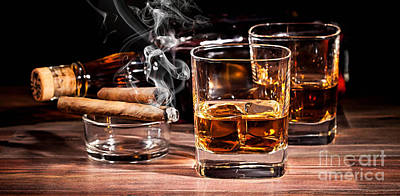 Cigar And Alcohol Collection Print by Marvin Blaine