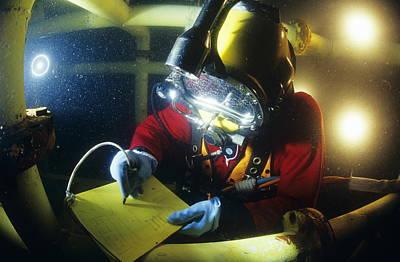 Diving Helmet Photograph - Commercial Diver by Alexis Rosenfeld