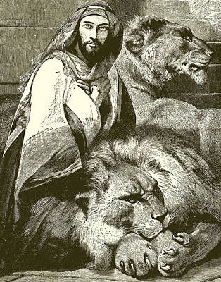 Daniel In The Lions Den Print by English School
