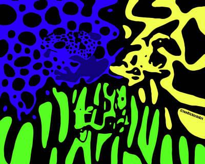 Burmese Python Drawing - 3 Dart Frogs by Joe Richichi