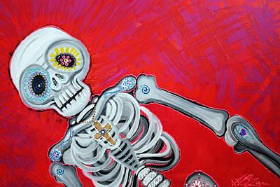 Skulls Painting - 3 Day Fiesta by Laura Barbosa