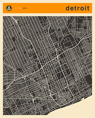 Detroit Map Print by Jazzberry Blue