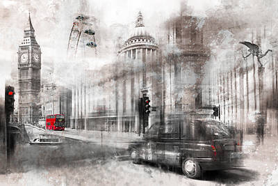 Digital-art London Composing Print by Melanie Viola