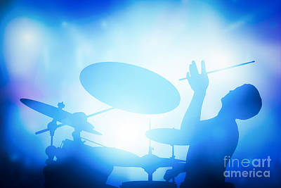Play Photograph - Drummer Playing On Drums On Music Concert. Club Lights by Michal Bednarek