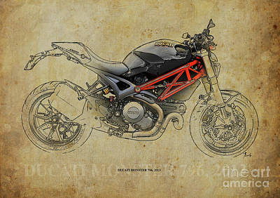Artprint Drawing - Ducati Monster 796 2013 by Pablo Franchi