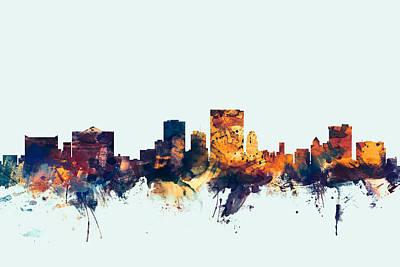 Texas Poster Digital Art - El Paso Texas Skyline by Michael Tompsett