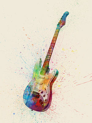 Abstracted Digital Art - Electric Guitar Abstract Watercolor by Michael Tompsett