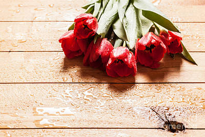 Light Photograph - Fresh Red Tulip Flowers Bouquet On Wood by Michal Bednarek