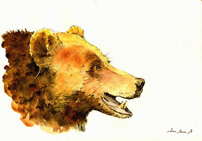 Grizzly Bear Watercolor Painting Original by Juan  Bosco