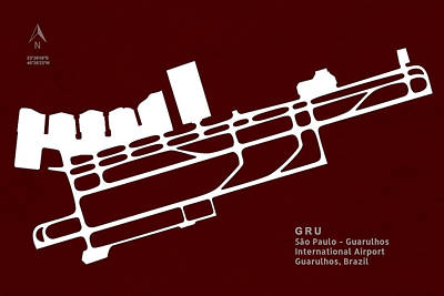 Runway Digital Art - Gru Sao Paulo - Guarulhos International Airport In Guarulhos Bra by Jurq Studio